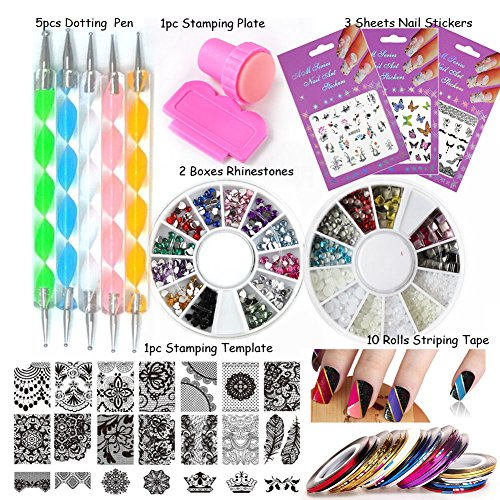 LoveOurHome Nail Art Tools Equipment Nail Stamping Templates Plate Rhinestones Decorations Dotting Pen Sticker Decal Manicure Kits ()