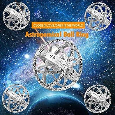 Chomile Bola anillo astron/ómico Esfera del anillo de dedo c/ósmico regalos de la joyer/ía amante de los pares