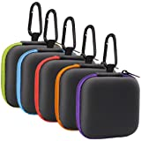 MOLOVA 5Pack Square Earbud Case Portable EVA Carrying Case Storage Bag Cell Phone Accessories Organizer with Carabiner for Ea