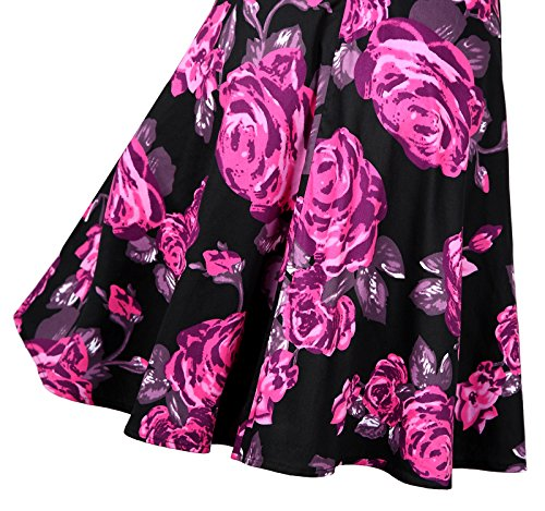 Vintage Sleeveless RoseRed Floral Cocktail Dresses Womens Wenseny Printing Casual Petticoats pwqEB4BxgS