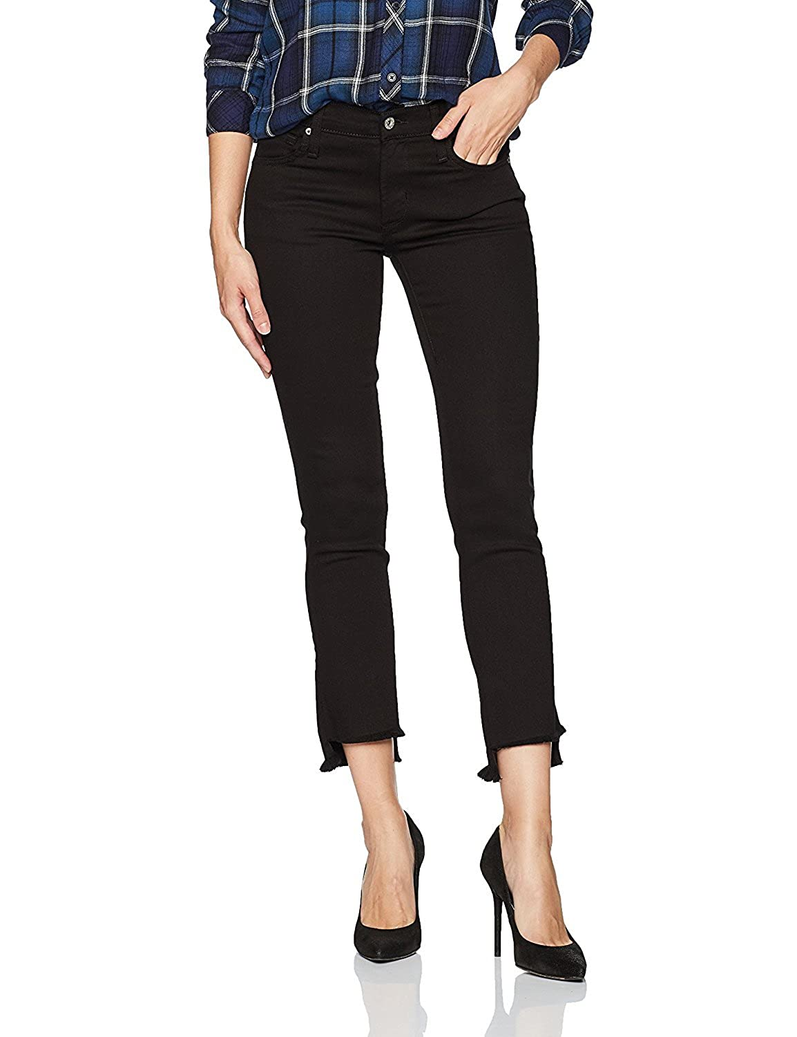 James Jeans Women's Straight Leg Jean with Hi Lo Hem Flat Black 29 [並行輸入品] B075CCZX33