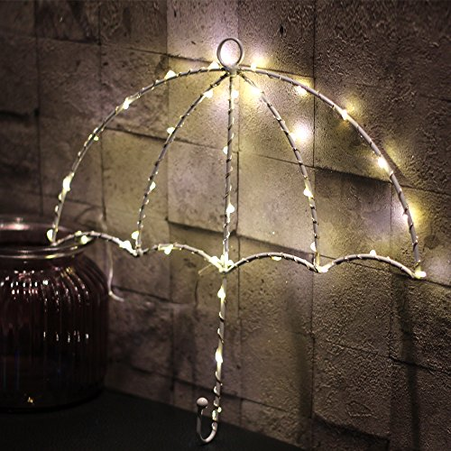 Iron String Light Decor LED Lights, Jeasun Umbrella Stylish Wall Door New Year Xmas Light battery powered for Celebrate Party Baby Kid Gift (Warm White) (Show Christmas Home Light)