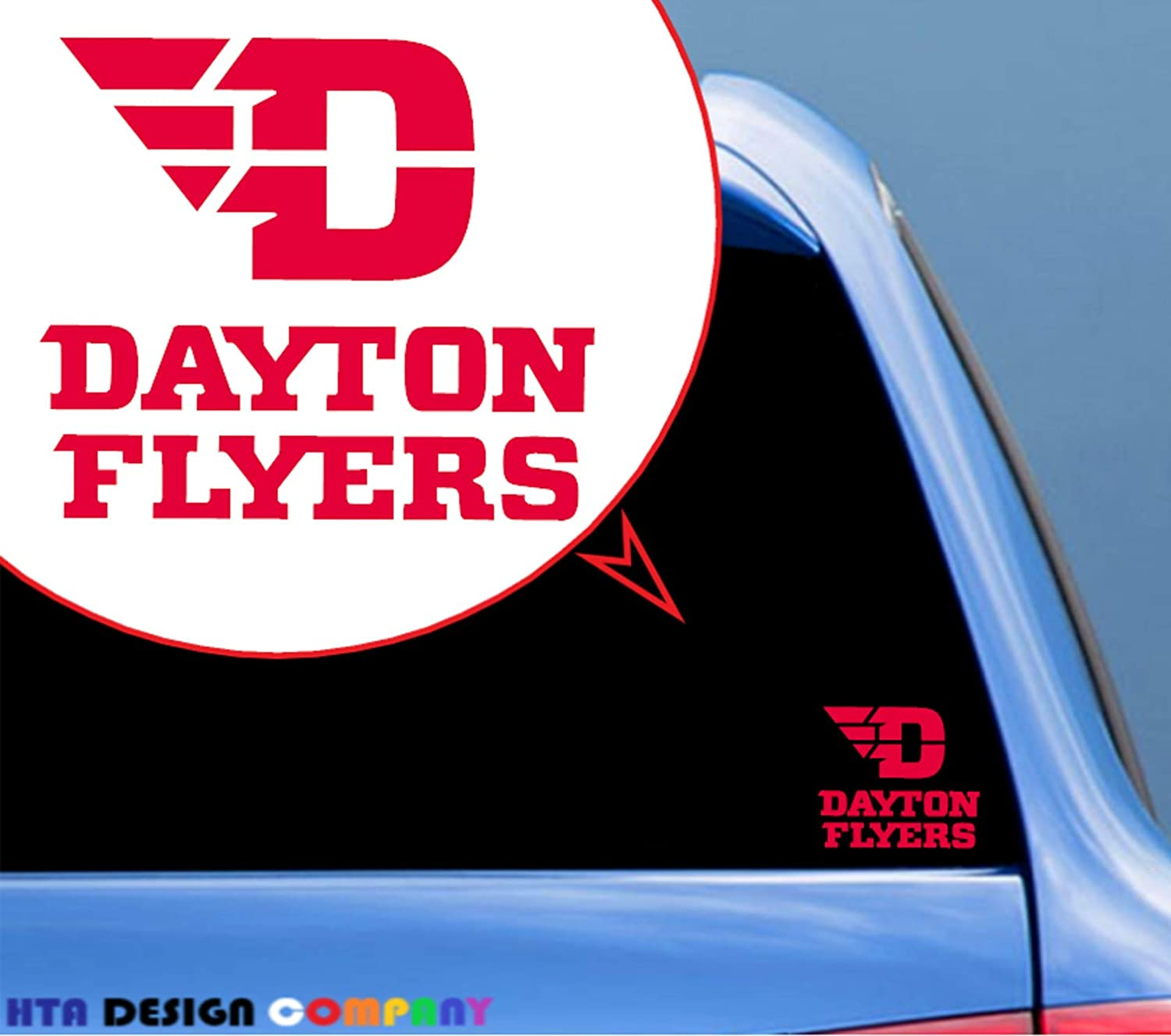 HTA Custom Decals University of Dayton Flyers/Vinyl Transfer Sticker Decal for Car/Truck/Jeep/Window/Bumper/Laptop/Phone Decor/Home Decoration/Motorcycle(4 in x 4.5 in) - Red