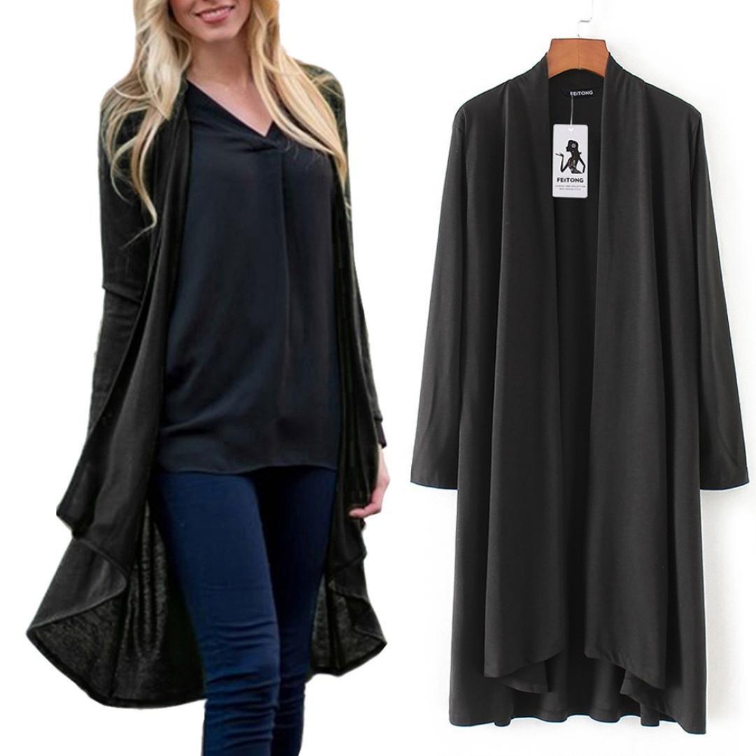 Pervobs Blouses, Big Promotion! Womens Solid Print Long Sleeve Cover up Kimono Cardigan Top Shawl Blouse Beachwear (S, Black)
