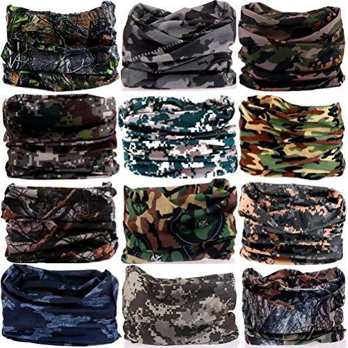6PCS/8PCS/9PCS/12PCS Seamless headband camo bandanas headwear for men&women Neckwarmer Scarf 16-in-1 Multifunctional for Music Festivals Raves Neck Gaiter Magic Scarf Fishing Mask (12PCS-5CAMOUFLAGE1)
