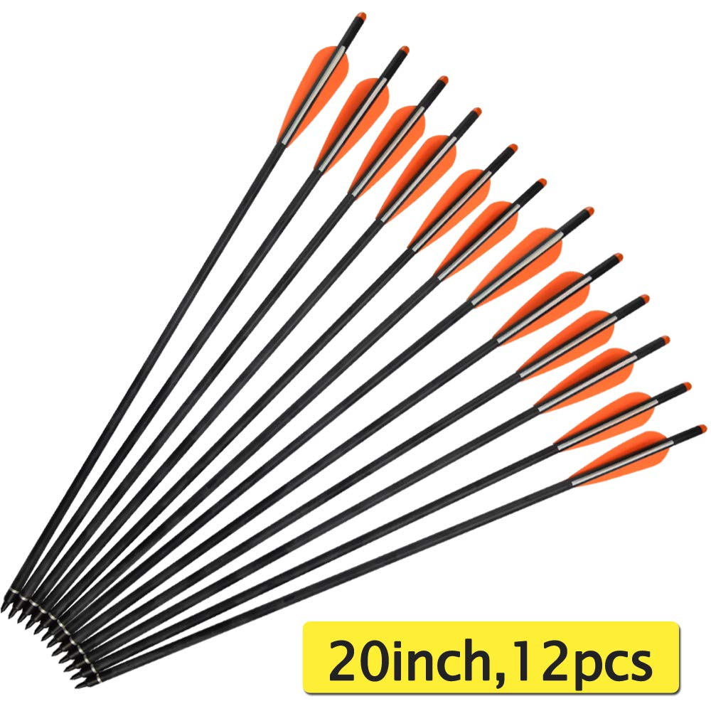 SHENG-RUI Hunting Archery Carbon Arrow 16'' 18'' 20'' 22'' inch Crossbow Bolts Arrow with 4'' inch vanes and Replaced Arrowhead/Tip by SHENG-RUI