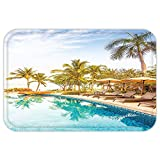 VROSELV Custom Door MatHouse Decor Aerial View of A Pool in A Health Resort Spa Hotel with Exotic ElementSportModern Photo Decor Multi