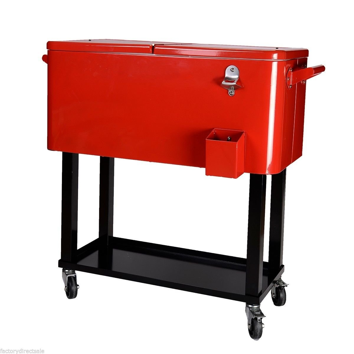 Amazon.com : 80 Quart Cooler Beer Cart Outdoor Entertaining Rolling Party  Steel Bar Bistro : Garden U0026 Outdoor