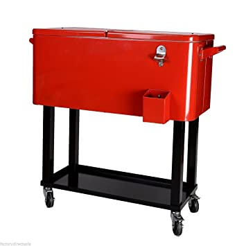 80 Quart Cooler Beer Cart Outdoor Entertaining Rolling Party Steel Bar  Bistro