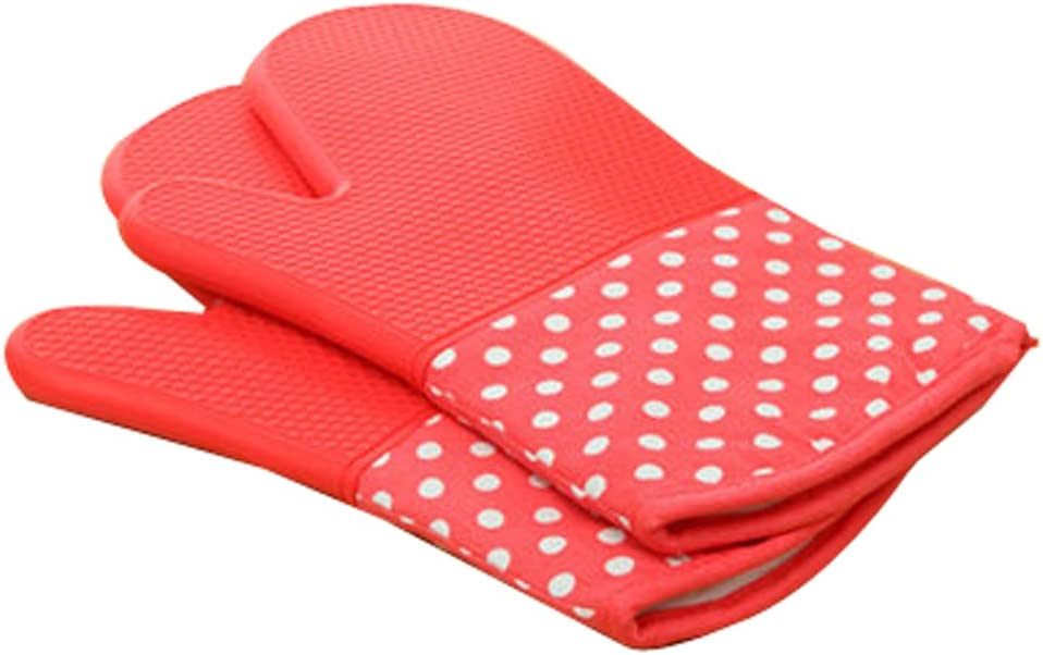 Microwave Oven Gloves Cotton Insulation Silicone Mitt Double Head Thickening