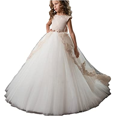 1d1f56f45ba Amazon.com  Aries TuttleIvory Wedding Flower Girl Dress Birthday Party  Little Princess Girls  Pageant Prom Puffy Gown  Clothing