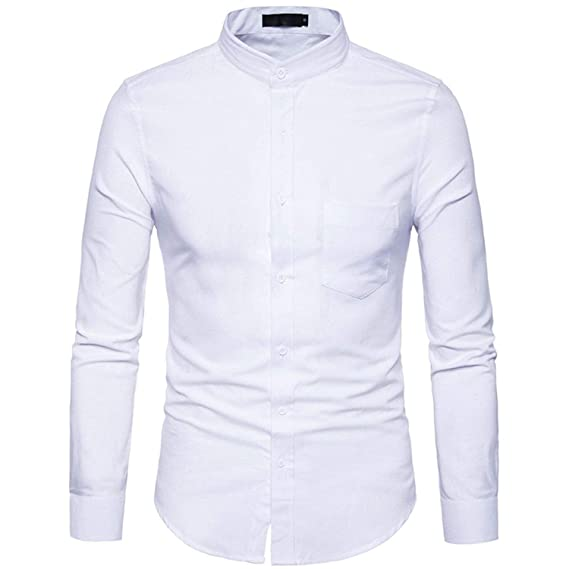 Mens Mandarin Collar Oxford Shirt Long Sleeve Shirt Men Business Casual Shirt at Amazon Mens Clothing store: