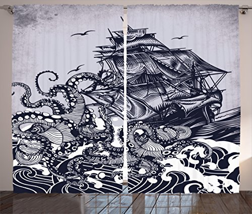 Ambesonne Nautical Curtains Decor, Sail Boat Waves and Octopus Ship with Kraken Home Textiles Hand Drawing Effect Design, Living Room Bedroom Window Drapes 2 Panel Set, 108 W X 84 L Inches, Blue Review
