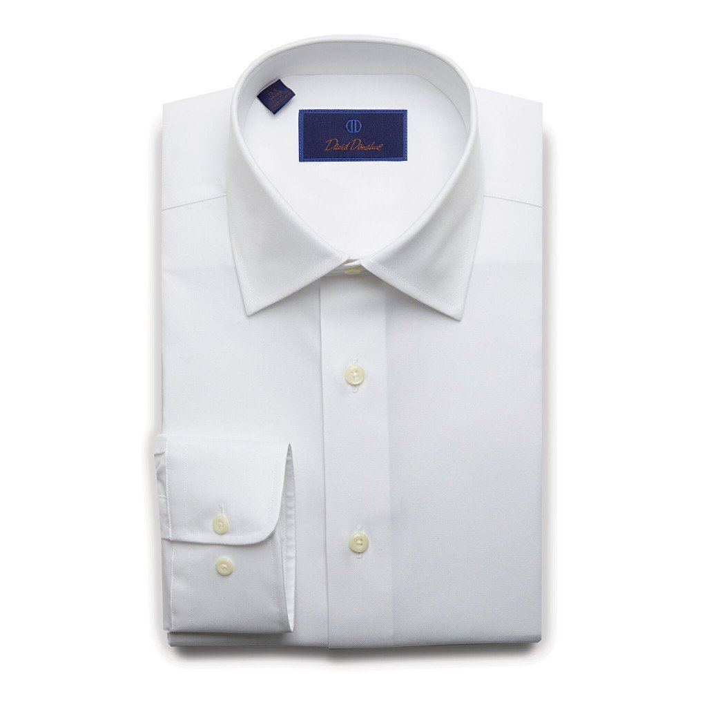 David Donahue Men's Regular Fit Super Fine Twill Dress Shirt, White, 15.5'' Neck 34/35 Sleeve