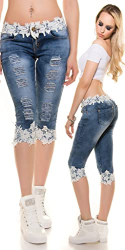 Faaaashion Women's Capri Denim Pants with Lace Trim Super Cute Spring Summer Jeans
