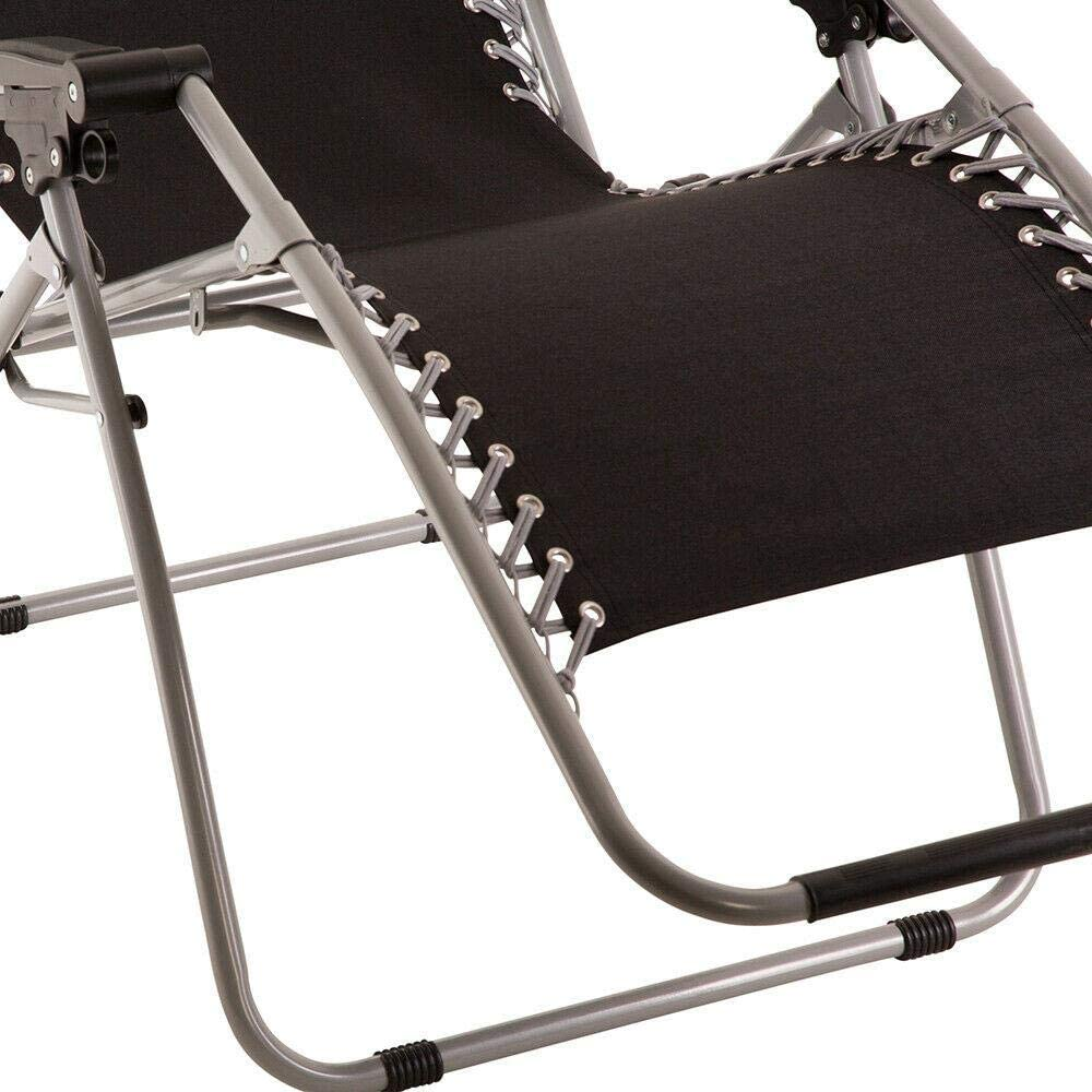 Wido Black Gravity Garden Reclining Sun Chair Lounger