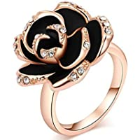 Sourban Crystal Black Rose Ring Cubic Zirconia Wedding Ring