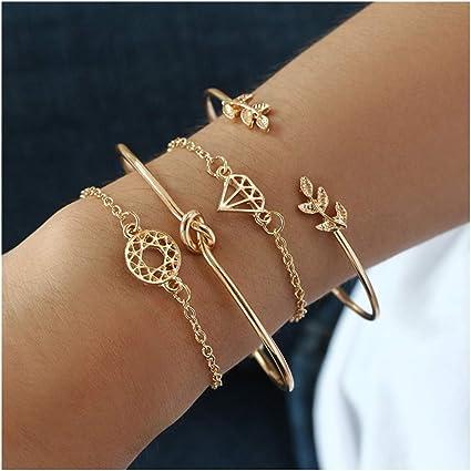 Women Gold Silver Crystal Alloy Chain Wristband Cuff Bracelet Bangle Jewelry Set