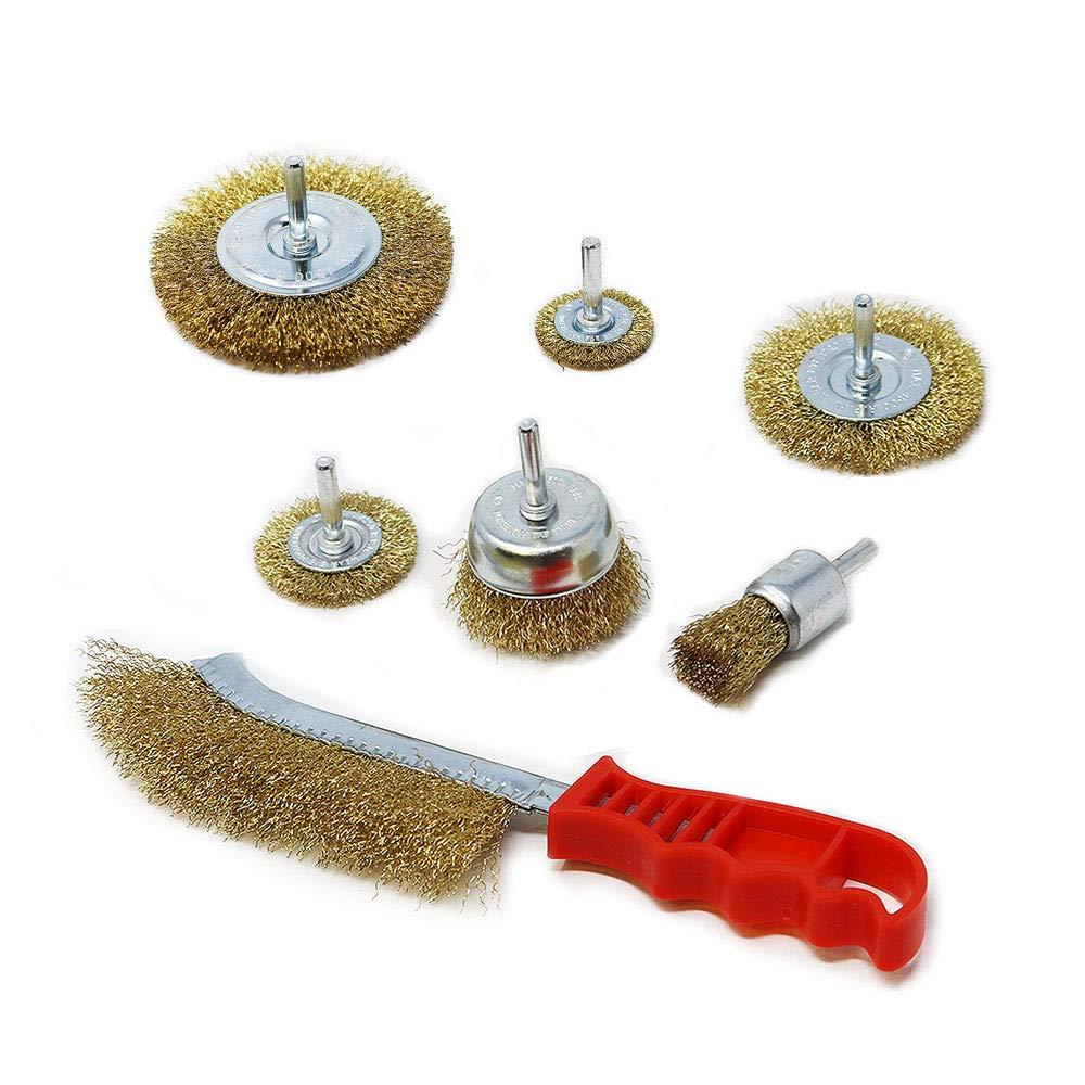 Toolman XTH011 - Juego de cepillo para vaso de rueda de alambre engarzado para taladro eléctrico (7 piezas)