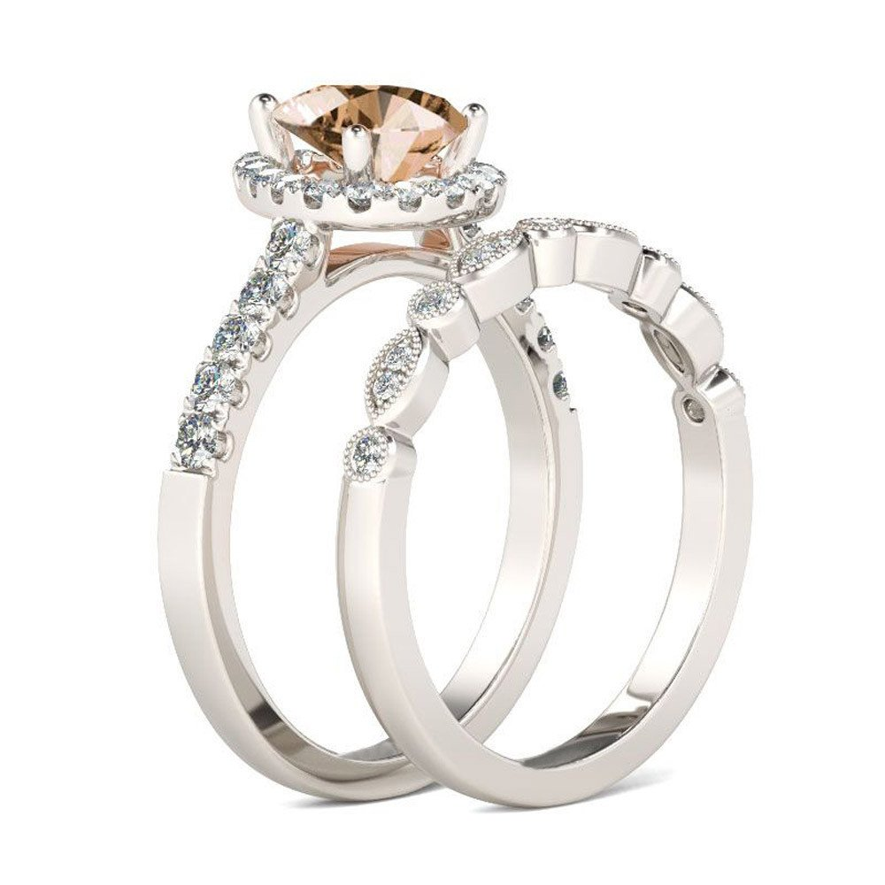 Amazon Clearance Ring Daoroka Exquisite Women 2in1 Set Vintage Diamond Black Engagement Wedding Band Bride Hot Sale 8 Coffee Musical: Bridal Wedding Ring Sets Clearance At Websimilar.org