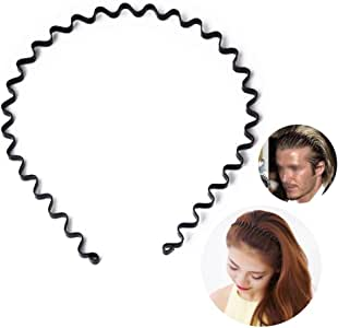 Unisex Black Spring Wavy Metal Hair Hoop Band Men Women Sports Headband Headware Accessories