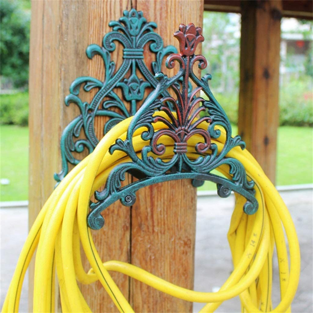 YUSHRO Hose Holder, Retro Cast Iron Heavy Duty Wall Mounted Water Pipe Support For Home Garden Yard Decorative (Color : D) D