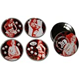 Rockabilly Pin-Up Girls Coasters from Sourpuss Clothing (Set of 4 in Metal Tin)