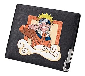 Cosstars Naruto Anime Cartera Cuero Artificial Billetera Hombre Portatarjetas Slim Wallet Negro /1: Amazon.es: Equipaje