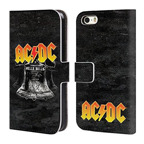 Officiel AC/DC ACDC Brian Johnson Rouge Titres De Chanson Étui Coque De Livre En Cuir Pour Apple iPhone 5 / 5s / SE