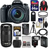 Canon EOS 77D Wi-Fi Digital SLR Camera & EF-S 18-135mm with 70-300mm IS USM Lens + 64GB Card + Backpack + Flash + Battery & Charger + Tripod Kit