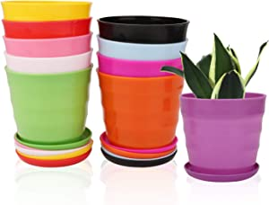 4.3 Inches Plastic Plant Pots with Drainage Holes, Ufrount Gardening Containers, Flower Pots, Perfect for Garden/Yard/Kitchen/Flower/Succulents - Set of 20 (10 Colors, Thread Shape)