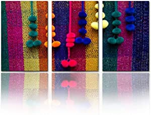 "Modern Canvas Painting colorful peruvian woven textile detail close up perus and pictures Wall Art Artwork Decor Printed Oil Painting Landscape Home Office Bedroom Framed Decor (16""x24""x3pcs)"