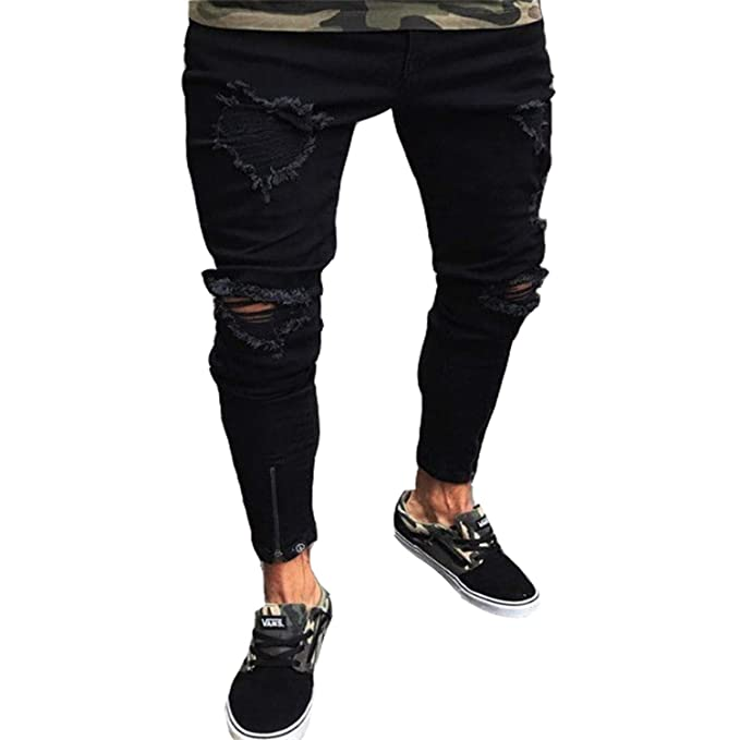 gran venta 42e52 5702e Sonjer Men Jeans Hombre Slim Fit Jeans Men Hip Hop Skinny ...