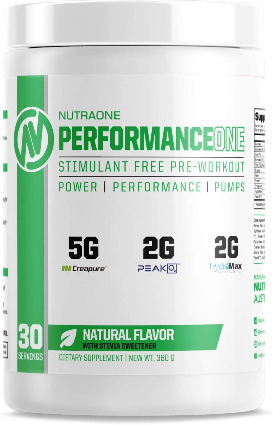 PerformanceOne Stimulant Free Preworkout Powder by NutraOne Caffeine Free Preworkout Powder 30 Servings