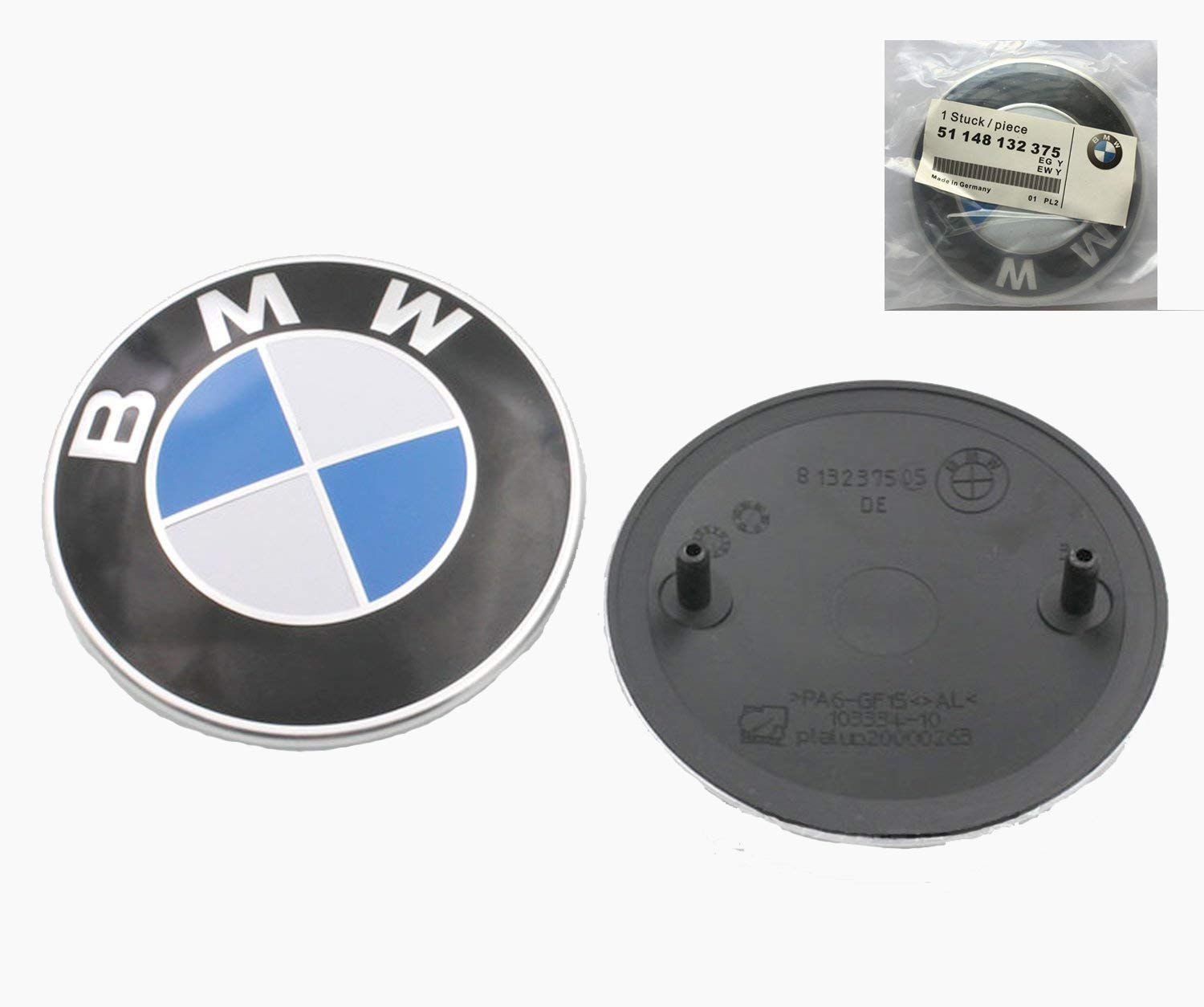 82mm BMW 2 pin Emblem Logo Replacement for Hood/Trunk for All Models BMW E30 E36 E46 E34 E39 E60 E65 E38 X3 X5 X6 3 4 5 6 7 8 (1pc) Haocc Loud