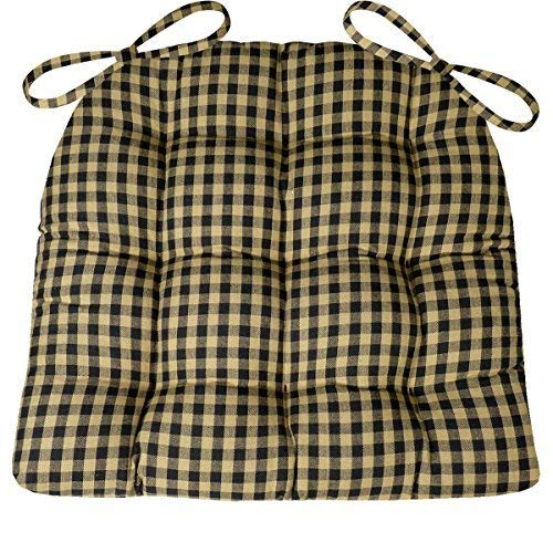(Barnett Products Dining Chair Pad with Ties - Checkers 1/4