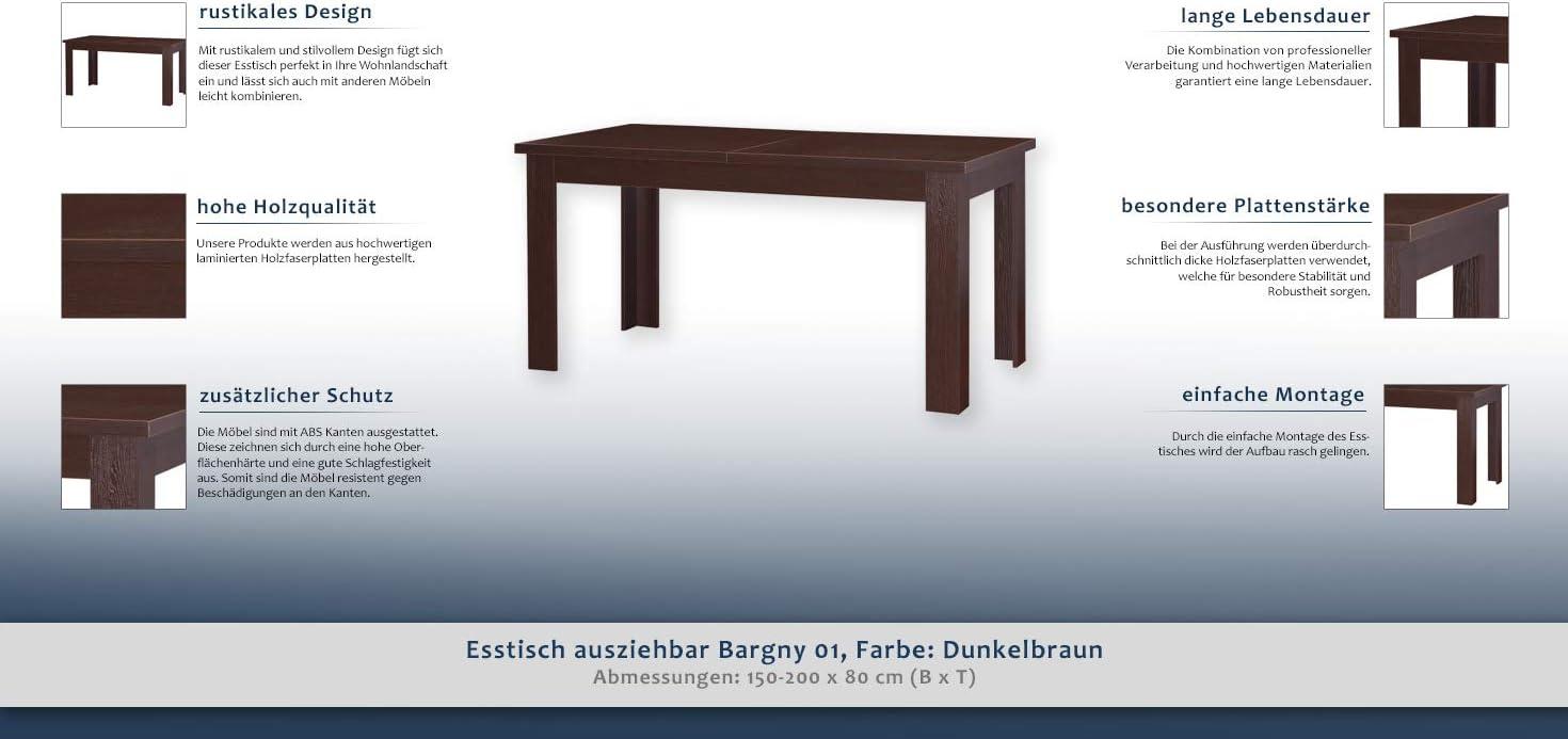 Esstisch ausziehbar Bargny 01, Farbe: Dunkelbraun 150 200 x 80 cm (B x T)