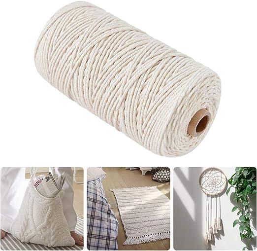 Merisny 200 m x 3 mm Macramé Cuerda de algodón Cuerda Natural ...