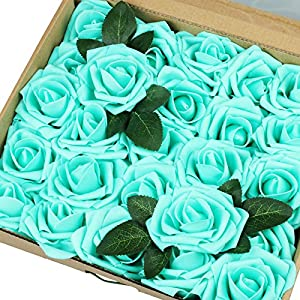 Vlovelife 50pcs Teal Blue Real Looking Fake Roses Artificial Flowers Roses Head With Stem for DIY Wedding Bouquets Centerpieces Arrangements Birthday Baby Shower Home Party Decorations 103