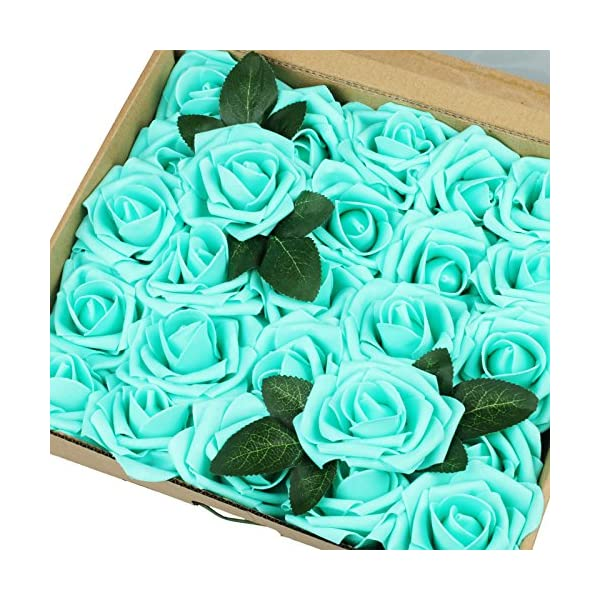 Vlovelife 50pcs Teal Blue Real Looking Fake Roses Artificial Flowers Roses Head with Stem for DIY Wedding Bouquets Centerpieces Arrangements Birthday Baby Shower Home Party Decorations…