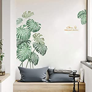 Green Tropical Leaves Wall Decor, Nature Palm Tree Plants Wall Decorations for Living Room Bedroom Nursery Classroom Offices Wall Decals Stickers