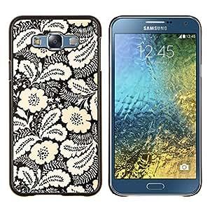 Stuss Case / Funda Carcasa protectora - Tinta Modelo blanco Negro floral elegante - Samsung Galaxy E7 E700