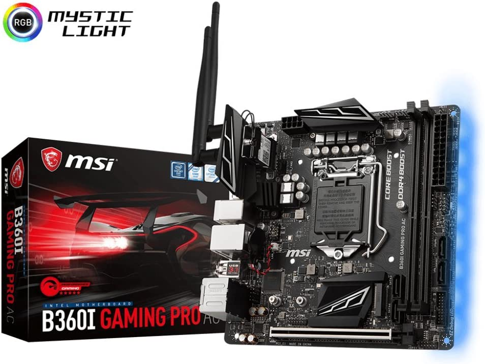 MSI Performance Gaming Intel Coffee Lake B360 LGA 1151 DDR4 Onboard Graphics Mini-ITX Motherboard (B360I Gaming PRO AC)