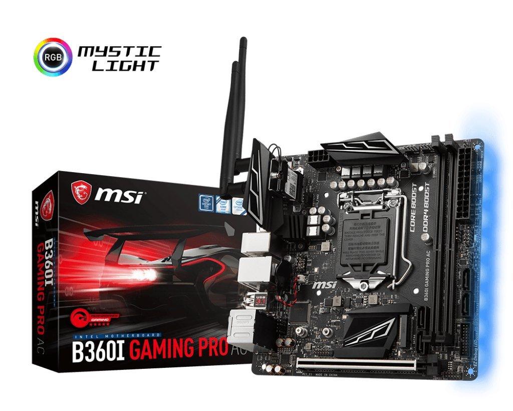 MSI Performance Gaming Intel Coffee Lake B360 LGA 1151 DDR4 Onboard Graphics Mini-ITX Motherboard (B360I Gaming Pro AC)