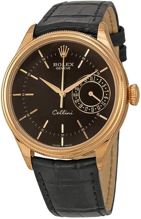 be6a566582a Rolex Cellini Date Black Dial 18kt Everose Gold Men's Watch ...