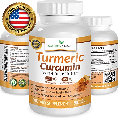 ★ Best EXTRA STRENGTH Turmeric Curcumin with BioPerine Black Pepper Extract 100% Natural Turmeric Root Powder Supplement For Inflammation Joint Pain Relief 90 Tumeric And Black Pepper Capsules (Turmeric Root Extract)