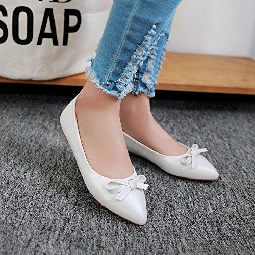 Show Shine Womens Fashion Sweet Bow Loafer Flats Shoes White 1DpFZ0
