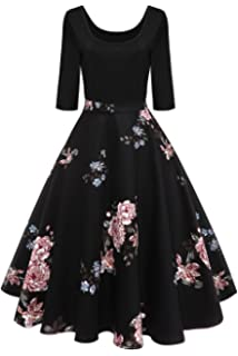 09c31e0115a Axoe Womens 1950s Pin up Floral Printed Vintage Rockabilly Dresses 3 4  Sleeve Black