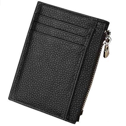 Portafoglio da uomo in vera pelle porta carte di credito RFID Blocco Zipper Slim Coin