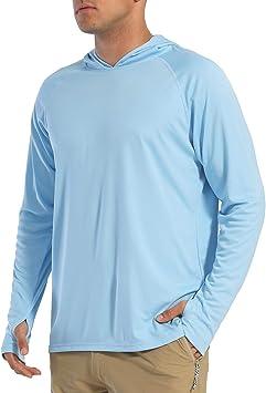 EKLENTSON - Camisas para hombre con protección solar UPF 50+ con capucha, rendimiento de manga larga, secado rápido, para pesca, correr, recreación al aire libre: Amazon.es: Ropa y accesorios